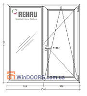 5-этажка Хрущевка МП Окно (ПВХ) 1300х1400 Rehau Euro-60