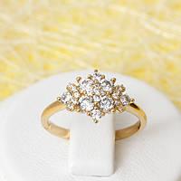 002-2389 - Позолоченное кольцо с прозрачными фианитами, 16, 17, 17.5 р.