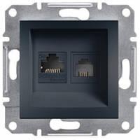 Розетка телефонная и компьютерная (RJ12+RJ45), антрацит - Schneider Electric Asfora