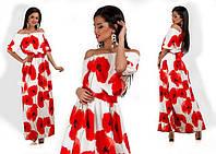 """Длинное платье """"Маковый цвет"""" (2 цвета)"""