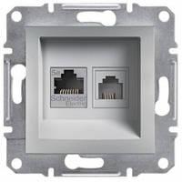 Розетка телефонная и компьютерная (RJ12+RJ45), алюминий - Schneider Electric Asfora