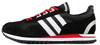 Мужские кроссовки Adidas Originals ZX400 Black Red (Адидас) черные с красным