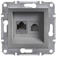 Розетка телефонная и компьютерная (RJ12+RJ45), сталь - Schneider Electric Asfora