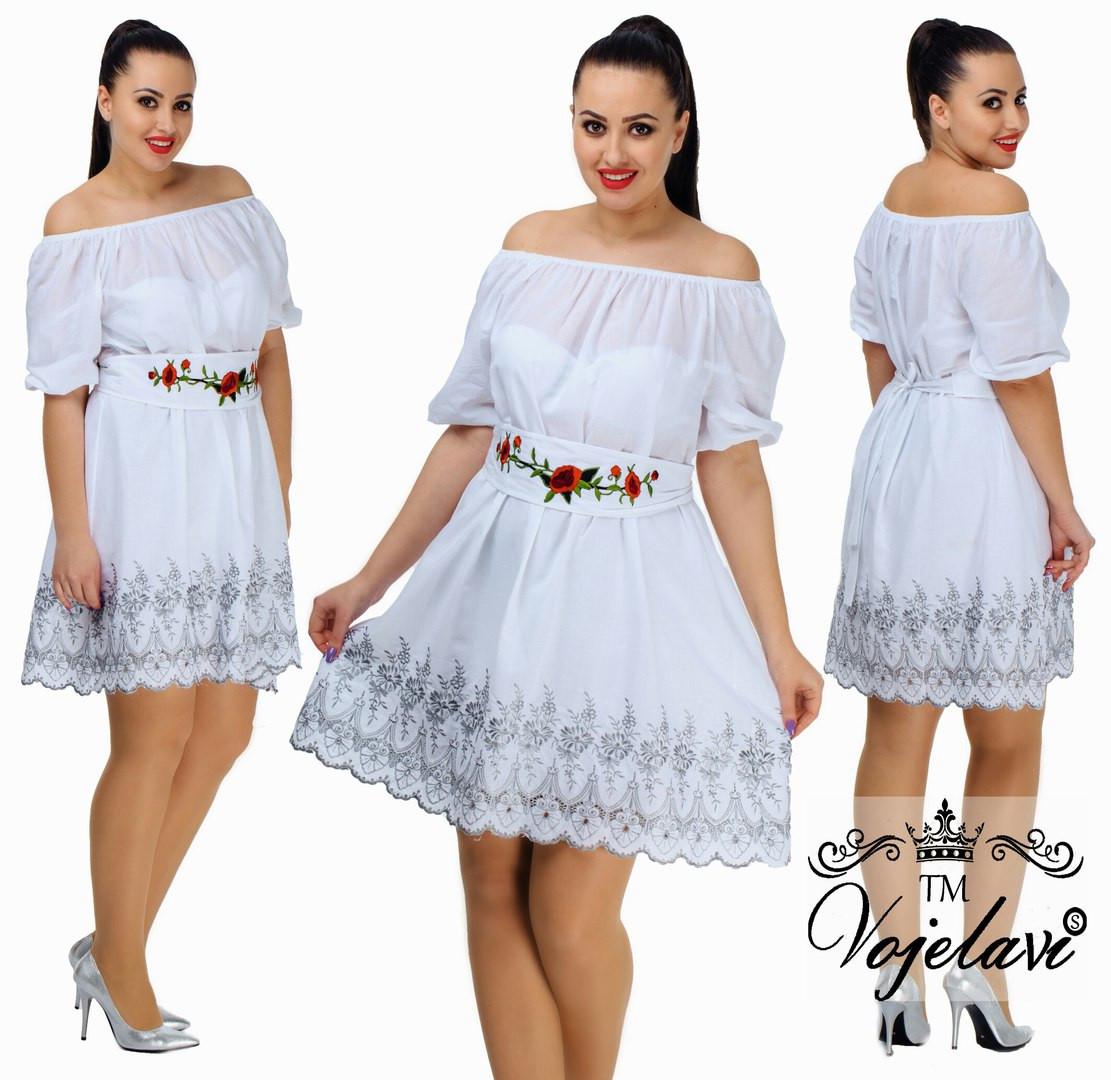 Нежное платье батал из батиста с Вышивкой белый, 52 и 54 ,белый, бежевый и голубой, 48