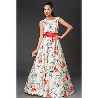 Шикарное платье макси из шелк-атласа с цветочным принтом (5 расцветок)
