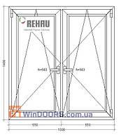 5-этажка Хрущевка МП Окно (ПВХ) 1300х1400 Rehau Euro-70 энергосберегающее
