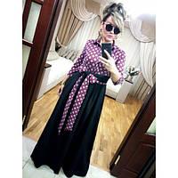 Красивое длинное платье креп+французский трикотаж (4 расцветки)