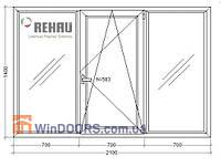 """Окно металлопластиковое, энергосберегающее Rehau Euro-70, 5-этажка """"Хрущевка"""" 2100х1400 мм"""