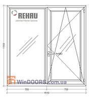 "Окно металлопластиковое Rehau Euro-60, 9-ти 12-ти этажка ""Чешка""1510х1550 мм"