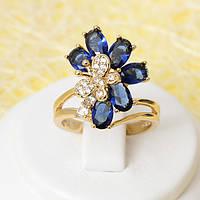R1-2406 - Позолоченное кольцо с сапфирово-синими и прозрачными фианитами, 17, 18 р.