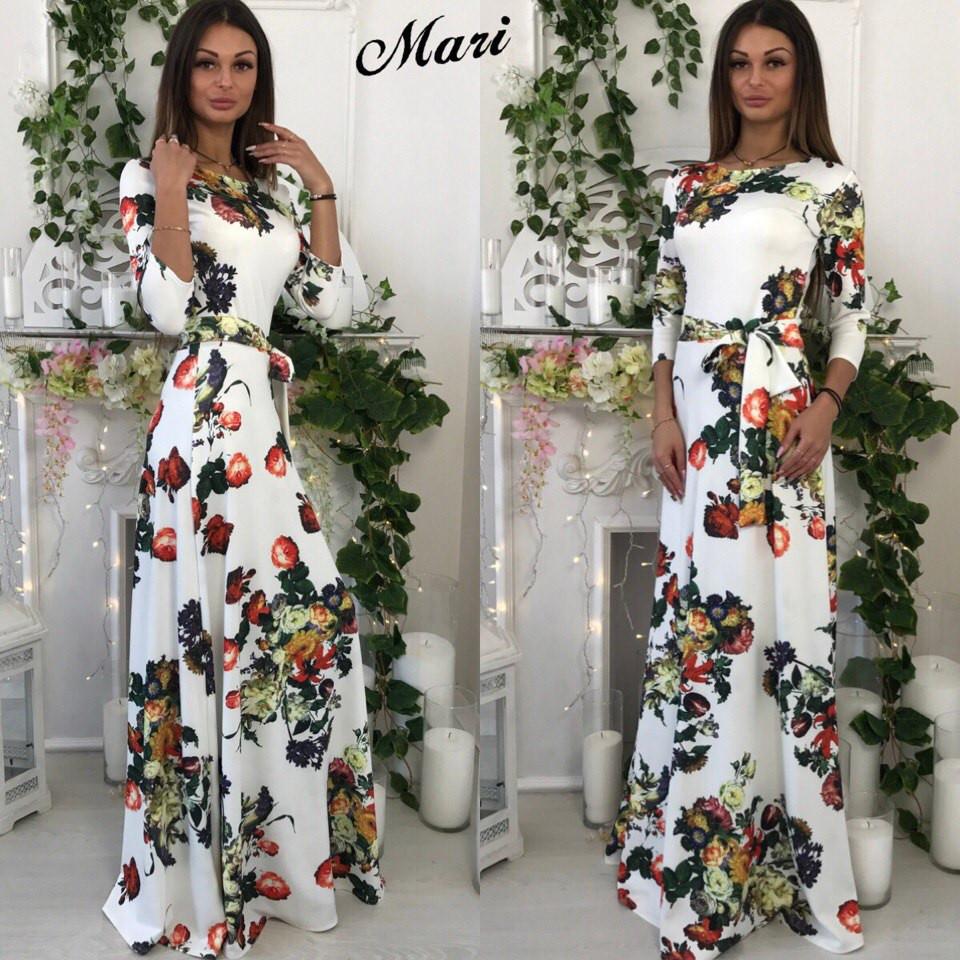 5ff0a75337f Красивое длинное платье с ярким цветочным принтом (2 цвета)  продажа ...