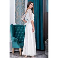 Нарядное кружевное белое платье в пол