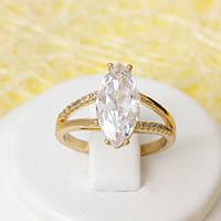 R1-2410 - Позолоченное кольцо с прозрачными фианитами, 17.5, 18.5, 19.5 р.