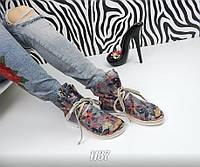 Стильные кожаные  летние ботинки с открытым носком на шнуровке, темные с цветами