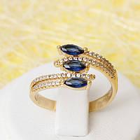 R1-2412 - Позолоченное кольцо с сапфирово-синими и прозрачными фианитами, 17, 18, 18.5, 19.5 р.