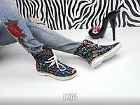 Стильные кожаные  летние ботинки с открытым носком на шнуровке, черные с цветными узорами