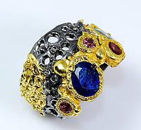 Кольцо ручной работы с натуральными синими Звездчатыми САПФИРАМИ и ГРАНАТАМИ, эксклюзив