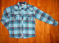 Детская рубашка для мальчика Мен  синяя 6-7 л