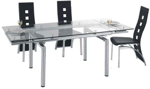 Обеденный стол стеклянный раздвижной.