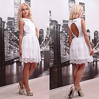 Платье вечернее короткое из итальянского кружева расшитое бисером. 1aa07d142fb62