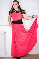 Шикарное КОРАЛЛОВОЕ вечернее платье с французским набивным кружевои и бисером, размеры 44-52