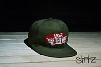 Зеленая кепка рэперка,снепбек ванс,Vans Snapback Cap