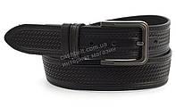 Прочный широкий стильный кожаный мужской тисненый ремень DIPLOM 4,5 см Украина черный (100015)