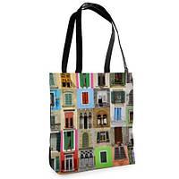 Женская большая сумка Нежность с принтом Окна