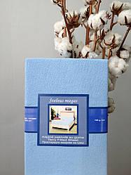Махровая простынь на резинке 180х200 голубая