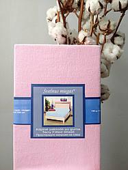 Махровая простынь на резинке 180х200 розовая