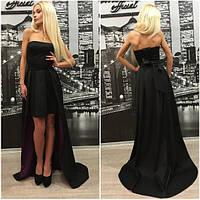 Стильное вечернее платье по спинке регулируется корсетом  шлейф на подкладке из шёлка, можно носить без шлейфа