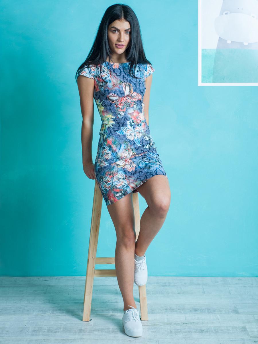 Жіноче літнє плаття з квітковим візерунком міні 42