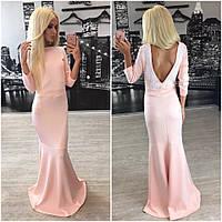 Нежное платье макси с открытой спиной и красивым кружевом