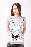 """Стильная футболка серого цвета с рисунком """"Заєць"""""""