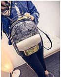 Рюкзак женский с отделкой под рептилию (серебристый), фото 5