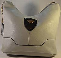 Женская сумка мешок, хобо серого цвета из кожзама СМД 022