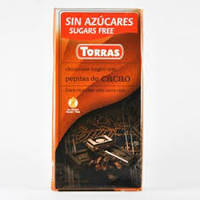 Шоколад черный с дробленным какао (без сахара, без глютена) Torras pepitas de cacao 75г