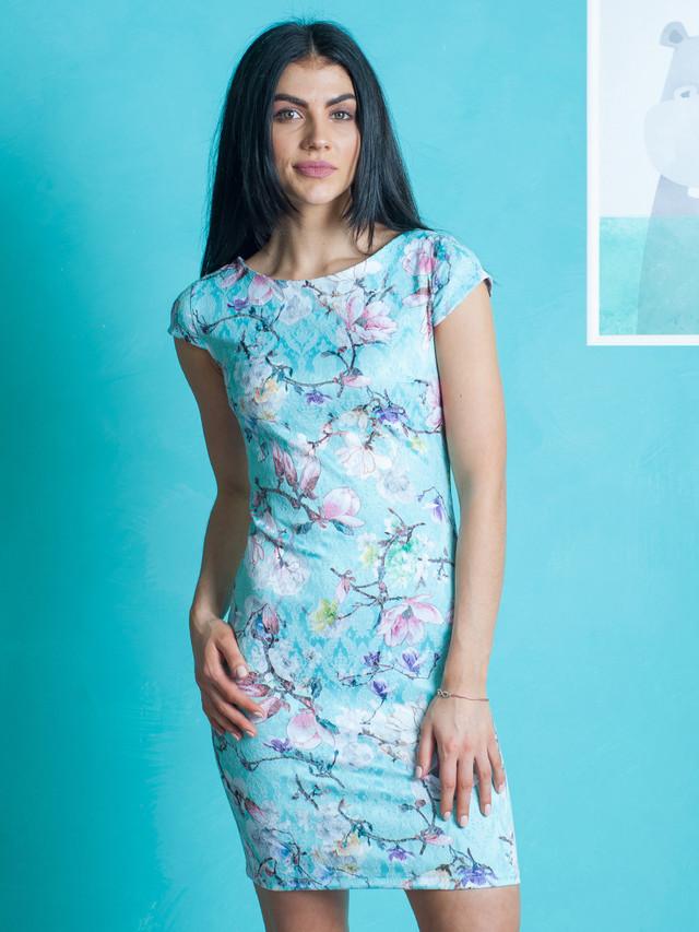 Бирюзовой платье из жаккарда