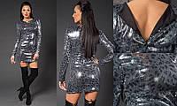 Коктейльное платье приталенного силуэта из пайетки принт леопард