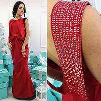 Вечернее платье макси с открытой спиной и украшением из камней (3 цвета)