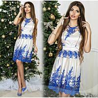 56b37f4a26b Шикарное коктейльное платье из атласа и гипюра на сетке в расцветках