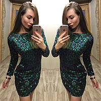 Шикарное коктейльное платье пайетка хамелеон на бархате