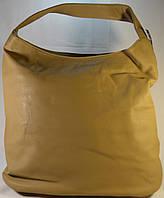 Женская сумка мешок, хобо бежевого цвета из кожзама SP0286А