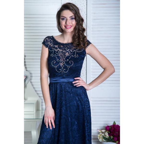 a507c227db2 Вечернее кружевное платье темно-синее  продажа