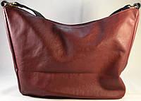 Женская сумка-мешок, хобо бордового цвета  012
