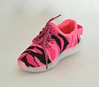 Кроссовки  детские светящейся розовый хаки (25-30)