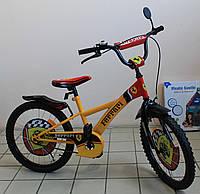 Детский двухколёсный велосипедный спорткар Феррари желтый велосипед