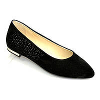 Женские замшевые туфли-балетки с заостренным носком, декорированы накаткой камней.