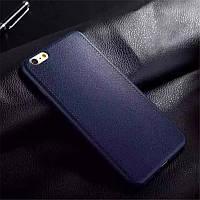 Чехол Apple Iphone 6 / 6S силикон TPU с кожаной текстурой темно-синий