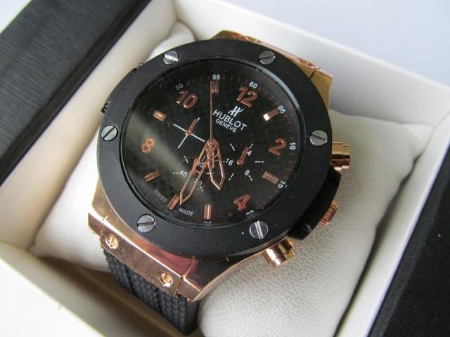 часы мужские на руку наручные Hublot черный циферблат черный корпус